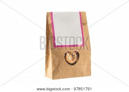 Paper Bag With Bio Food Inside Isolated