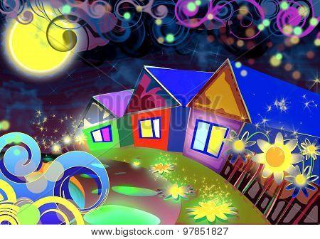 the lunar landscape of the village night light lantern