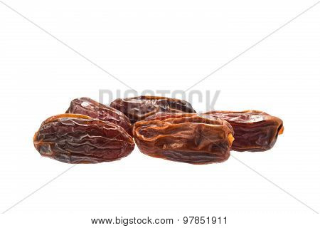 Dried Delicious Dates Isolated On A White