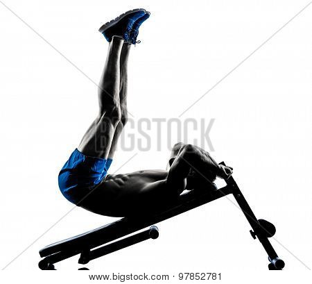 one caucasian man exercising fitness crunches crunches Bench Press exercises in studio silhouette isolated on white background