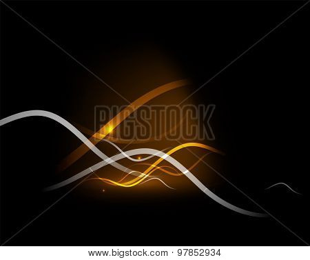 Yellow light in dark space with waves.  illustration. Abstract background