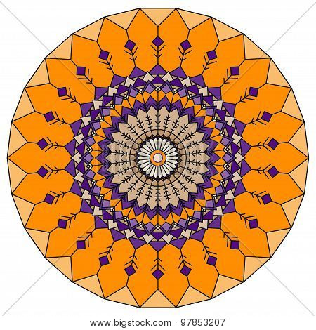 Hand-drawing Ethnic Ornamental Round Abstract Orange Background With Many Details