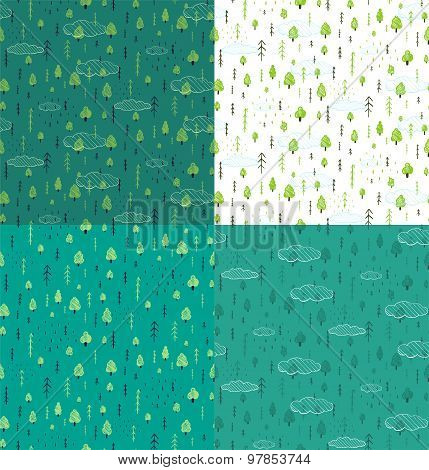 Wild Forest Hand Drawn Seamless Pattern Background Set
