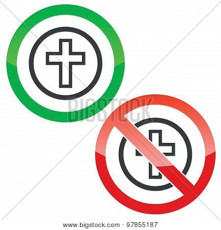 Christian cross permission signs