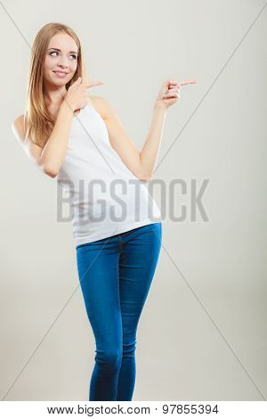 Woman Casual Style Pointing Copy Space Text Area