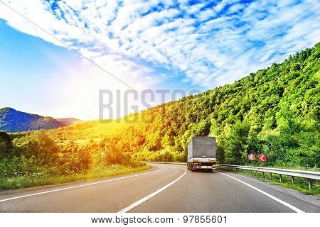 The truck on highway.