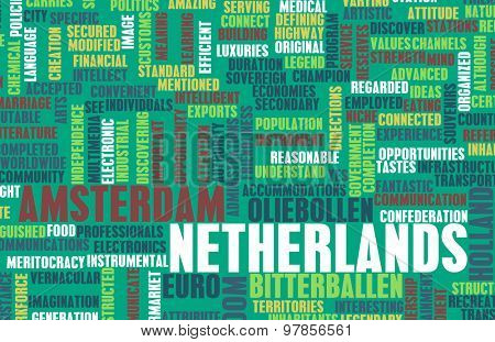 Netherlands as a Country Abstract Art Concept