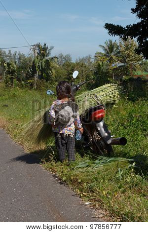 Girl Standing By A Motorbike Overloaded With Grass