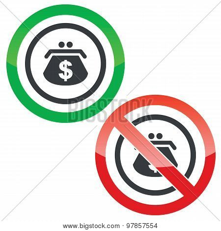 Dollar purse permission signs