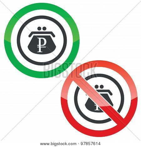 Ruble purse permission signs