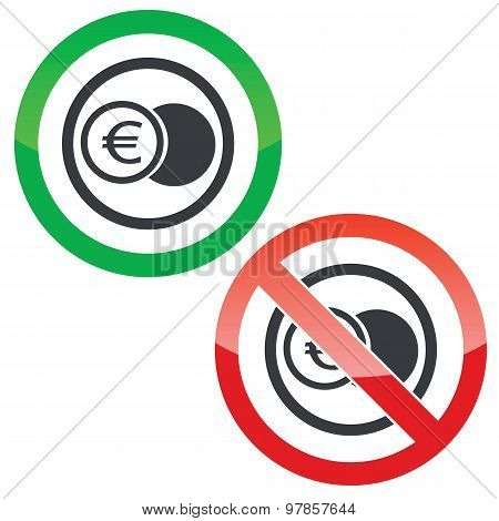 Euro coin permission signs