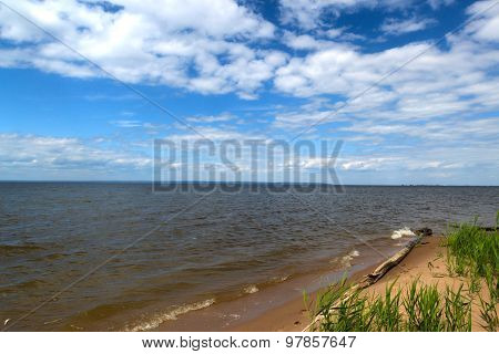Russia, Great River Volga Vast Spaces In Summer Sunny Day