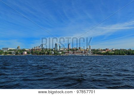 Russia, Great River Volga Vast Spaces With Skyline View In Summer Sunny Day