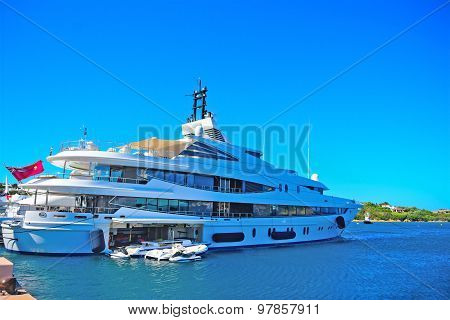 Yacht And Tender In Porto Cervo Harbor