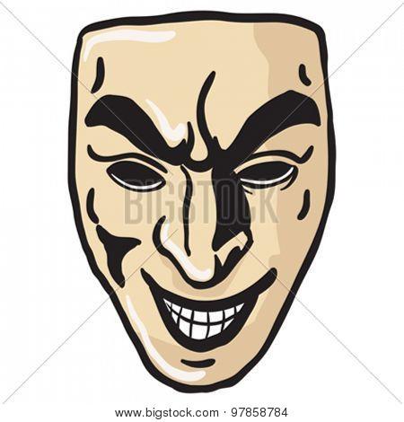 evil smile mask cartoon illustration