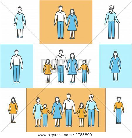 Vector illustration in linear style. Flat icons with people.