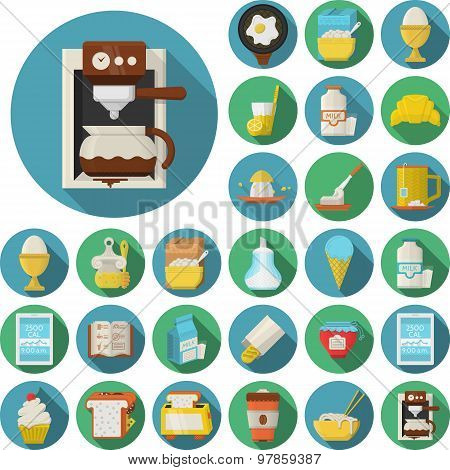 Flat design  vector icons for breakfast