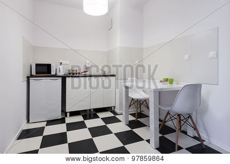 White And Black Small Kitchen Interior Design