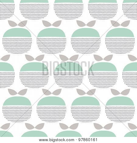 Seamless retro fruit apple abstract garden floral illustration background pattern in vector