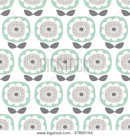 Seamless retro poppy flower abstract garden floral illustration background pattern in vector