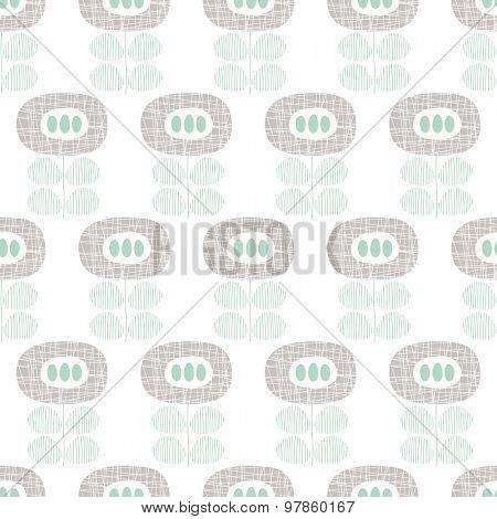 Seamless retro blue poppy flower abstract scandinavian garden floral illustration background pattern in vector