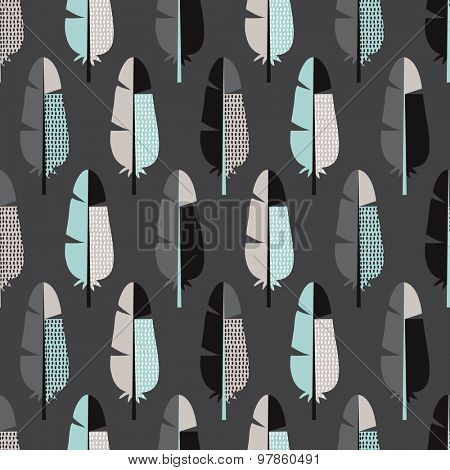 Seamless dark pastel colored retro bird feathers abstract scandinavian style illustration background pattern in vector