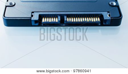 Ssd Disk Drive Sata 6 Connection  In Blue Technological Background