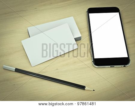 Business Cards Blank Mockup On Wood Background