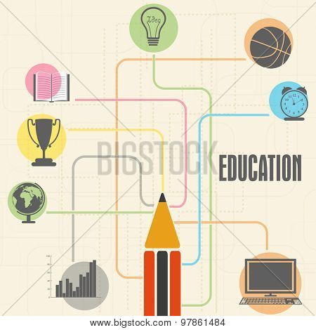 Colorful educational elements, objects and items with pencil on stylish background.