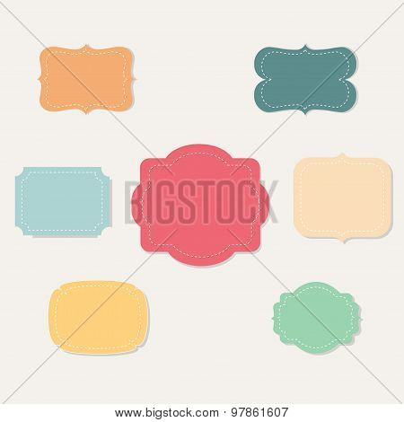 Set of colorful vector frames and ornaments