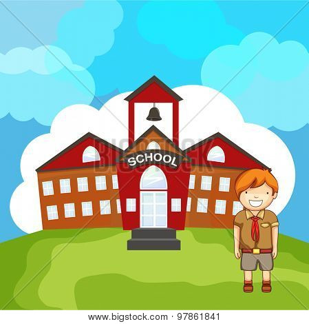 Creative illustration of a student in front of a school building on cloudy background.