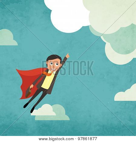 Illustration of a young business man flying in the grungy cloudy sky.