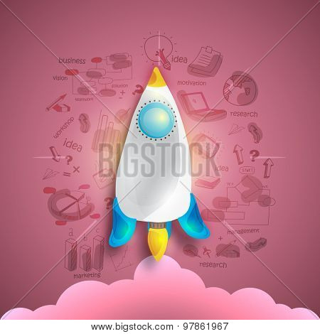 Creative start up business infographic layout with various elements and colorful rocket on glossy background.