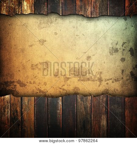 vintage paper with cracked wood background