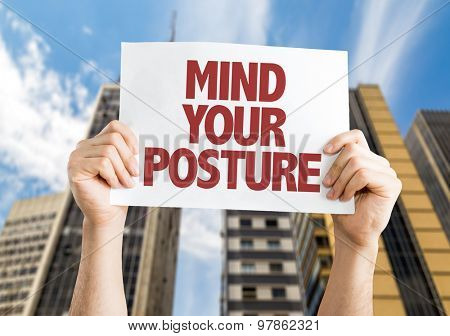 Mind Your Posture card with cityscape background