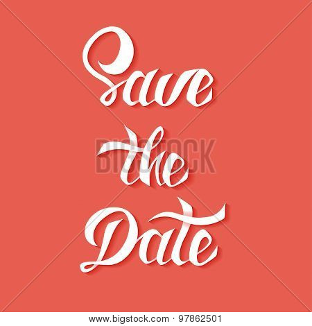 Save the Date vector card template with handdrawn unique typograpSave the Date vector card template