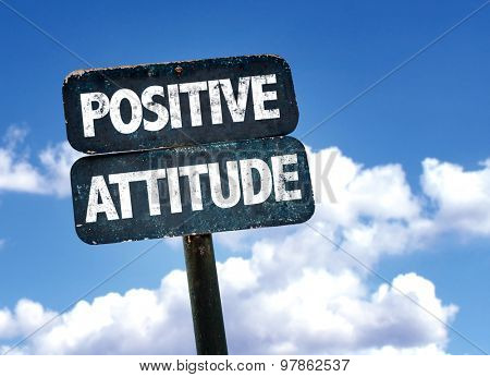 Positive Attitude sign with clouds on background