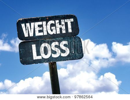 Weight Loss sign with clouds on background