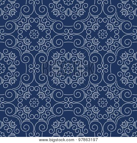 Rich Decorated Calligraphic Outlined Stroke Seamless Pattern In Blue Gamma.