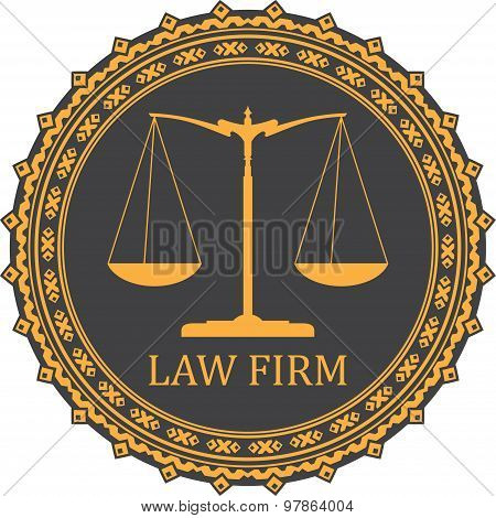 Justice Scale Icon With Caption Law Firm
