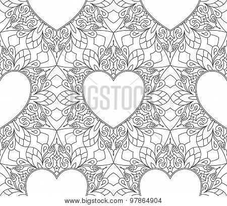 Rich Decorated Calligraphic Outlined Stroke Monochrome Seamless Pattern With Hearts. Vector Ornate F