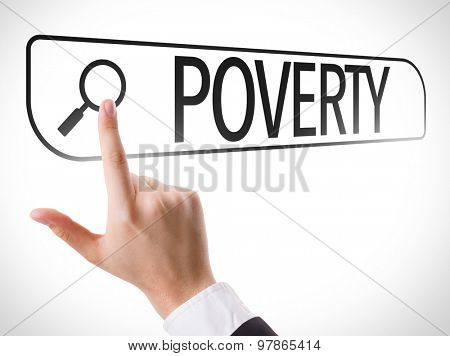 Poverty written in search bar on virtual screen