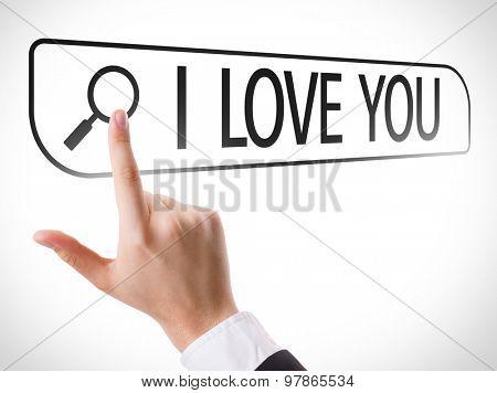 I Love You written in search bar on virtual screen