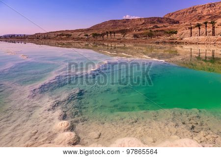 Fused salt made on the surface of the water. Emerald water of the Dead Sea