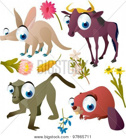 vector funny colorful animal kids set: aardvark, wildebeest, baboon, beaver