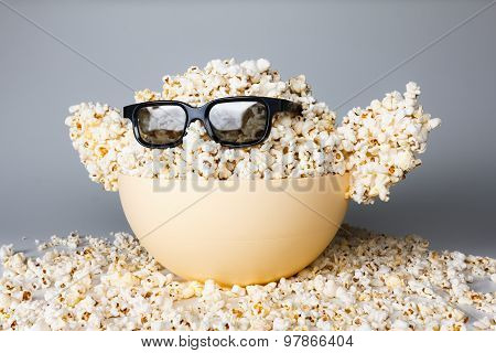 Smiling Monster Of Popcorn, Glasses