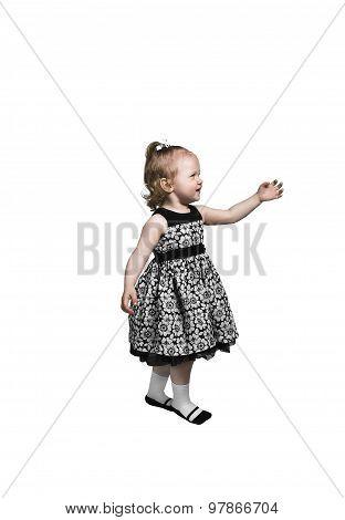 Little Girl Dancer In Black And White Dress