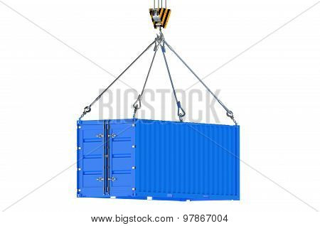 Crane Hook And Blue Cargo Container
