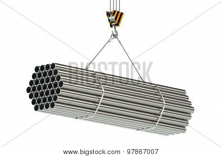 Crane Hook And Metal Pipes