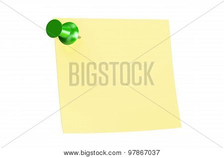 Green Push Pin With Blank Sticky Note